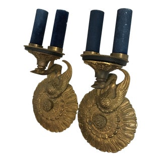 Vintage French Empire Style Brass Swan Sconces - a Pair