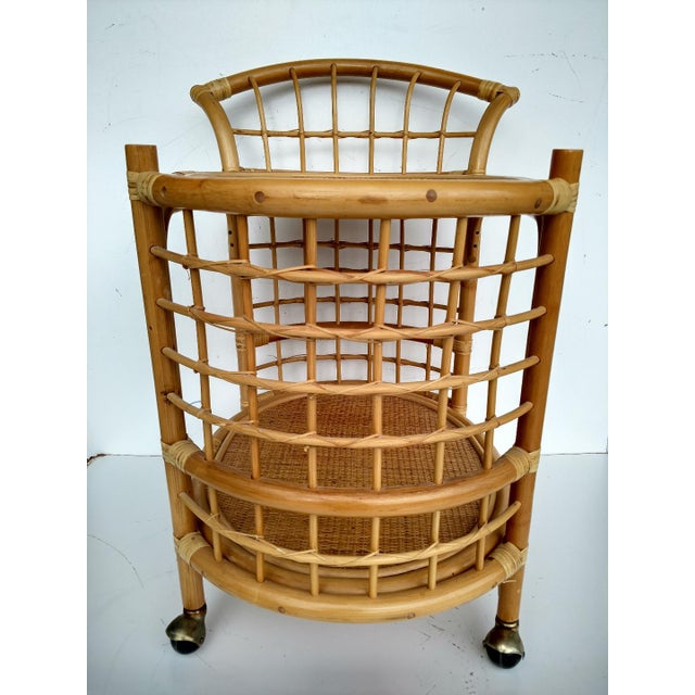 1970's Rattan 2-Tier Bar Cart with Swivel Casters - Image 3 of 8
