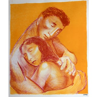 Mid-Century Lithograph Embracing Couple