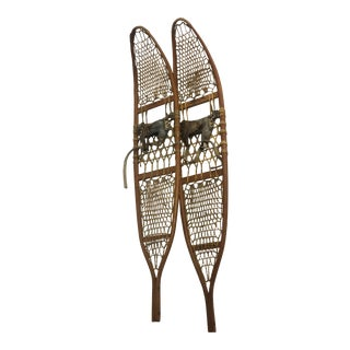 Vintage Leather & Wood Snow Shoes - A Pair