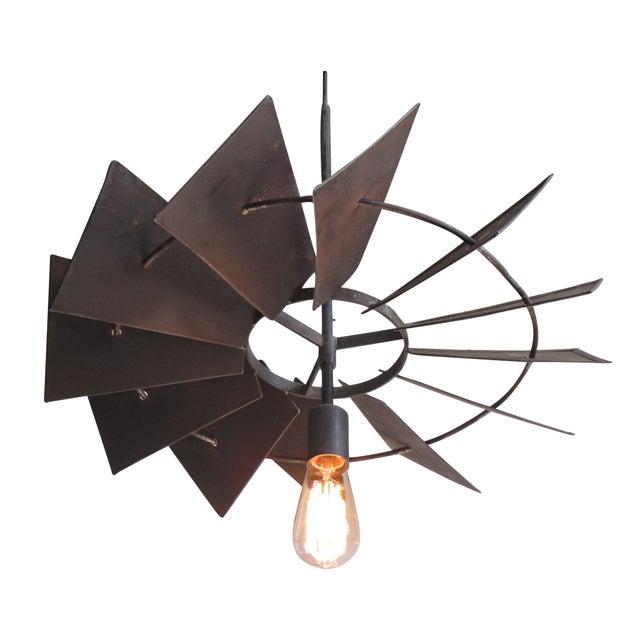 Vintage Rustic Windmill Pendant Light - Image 1 of 6
