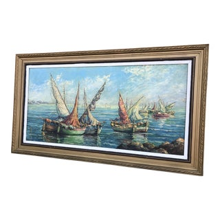 Vintage Modern Fishermen & Fishing Boats Painting