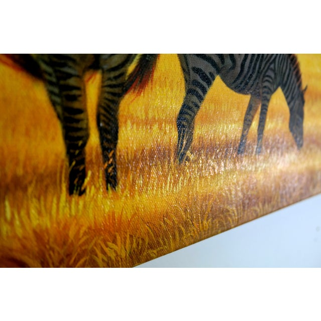 Image of Oil Painting of Zebras at Dusk on the Savanna