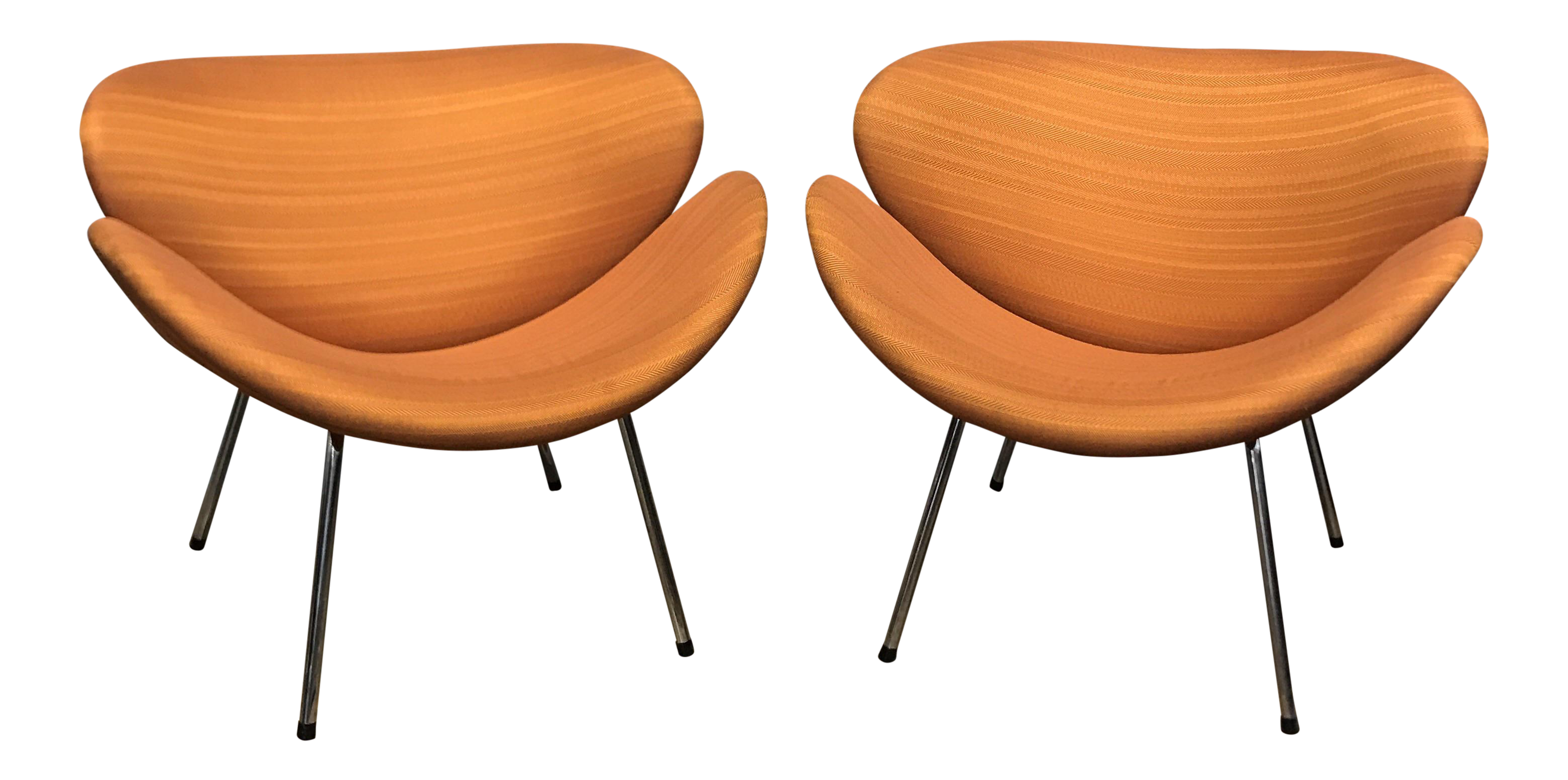 Pierre Paulin Style Orange Slice Chairs   A Pair