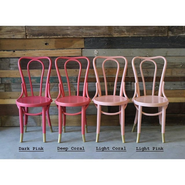 Mid-Century Coral Ombre Bentwood Chairs - Set of 4 - Image 7 of 7