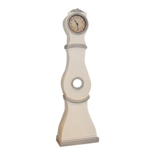 Swedish White Painted Tall Case Mora Clock