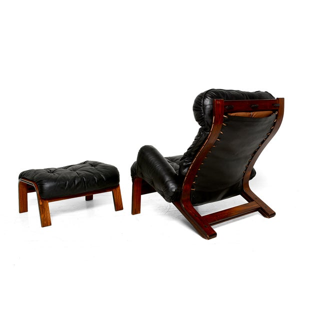 Image of Vintage 1973 Scandinavian Rosewood Chair & Ottoman