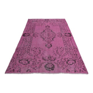 "Turkish Pink Overdyed Hand Knotted Rug - 5'6"" x 8'8"""