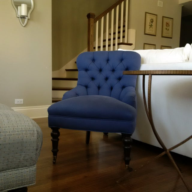 Jayson Home & Garden Blue Tufted Chairs - A Pair - Image 3 of 4