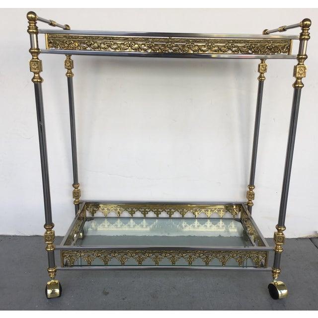Modern and Classic Italian Brass & Glass Bar Cart - Image 3 of 8