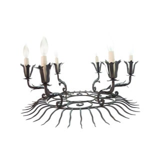 Italian Iron Sunburst Chandelier