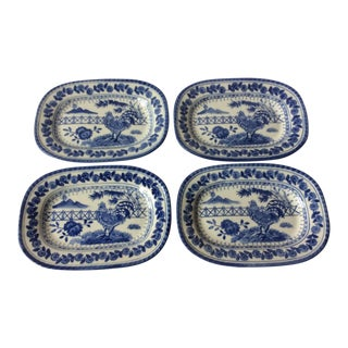 Blue & White Rooster Platters - Set of 4