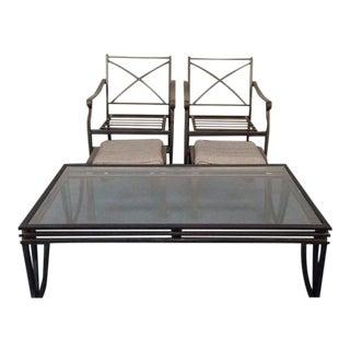 Antique Patinated Metal Patio Set
