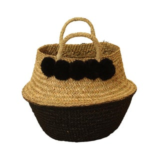 Black Pom Poms Double Woven Sea Grass Belly Basket - Panier Storage Nursery