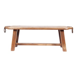 Vintage Slab Oak Mortise & Tenon Bench