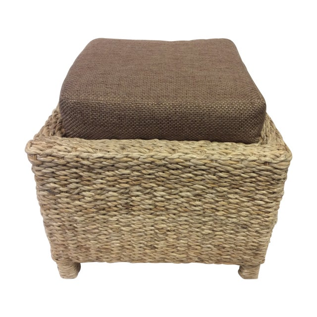 Image of Handmade Woven Stool Mimbre Brown