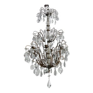 Italian Three-Tier Crystal Chandelier with Dark Metal Frame