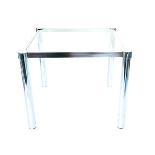 Mid-Century Modernist Chrome & Glass Side Table