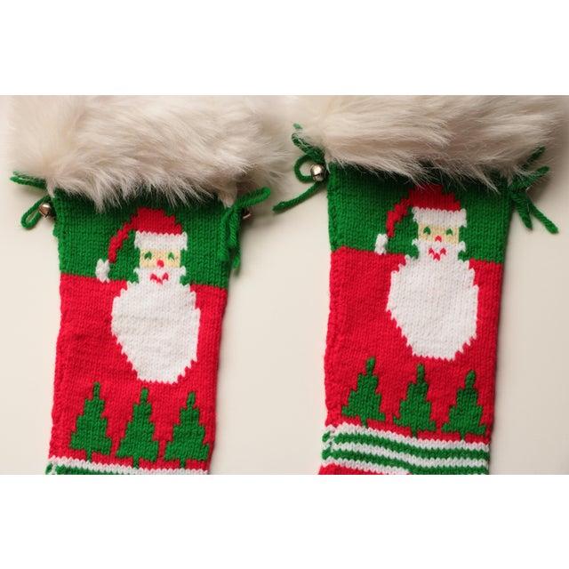 Vintage Hand-Knit Santa & Reindeer Stockings - A Pair - Image 4 of 8