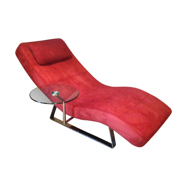 Boconcept chrome and red microfiber suede chaise chairish for Black microfiber chaise