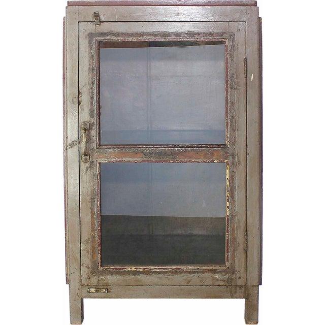 Vintage Olive-Hued Cabinet - Image 1 of 4