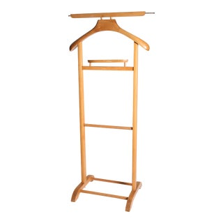 Danish Modern Brown Wood Butler Valet Stand