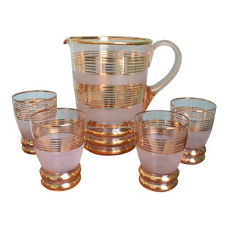 Gilt & Frosted Pitcher & Glasses Set