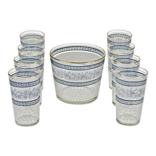 Vintage 1960's Jeannette Glass Patrician Pattern Highball Glasses and Ice Bucket - Set of 9