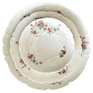 "Limoge France ""Scattered Roses"" Dinnerware, 1920s - Set of 42"