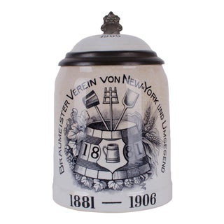 Antique Mettlach Beer Stein 'Braumeister Verein von New York' #1526 PUG c.1905