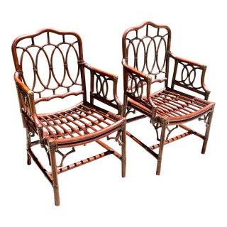 Handmade Maitland Smith Bamboo Chairs - A Pair