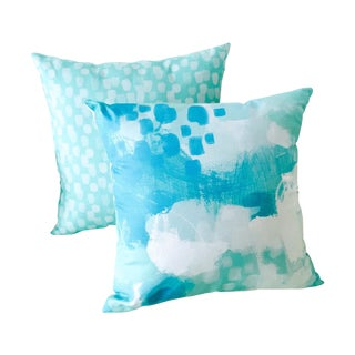 Katherine Jury - Abstract Blue Pillow