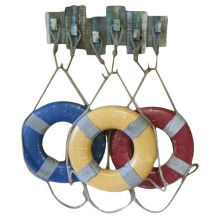 Vintage Weathered Life Rings Display Rack