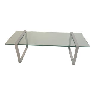 "Charles Hollis Jones ""Box"" Chrome and Glass Coffee Table"