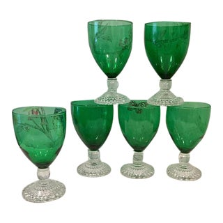 Anchor Hocking Green Goblet Glasses - Set of 6