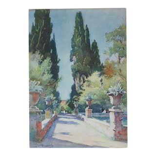 Vintage Lithograph, Villa d'Este in Tivoli