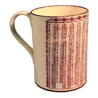 Swansea Creamware Rare Calendar Mug for the Year 1823