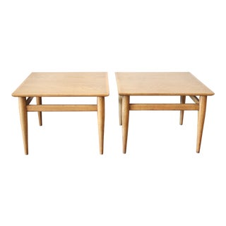 1950's Mid-Century Modern Blonde Wood Side Tables - a Pair