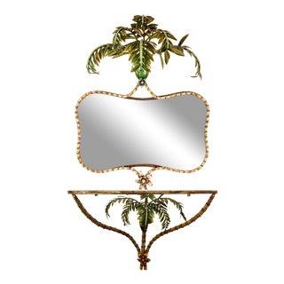 Italian Tole Palm Tree Mirror & Console