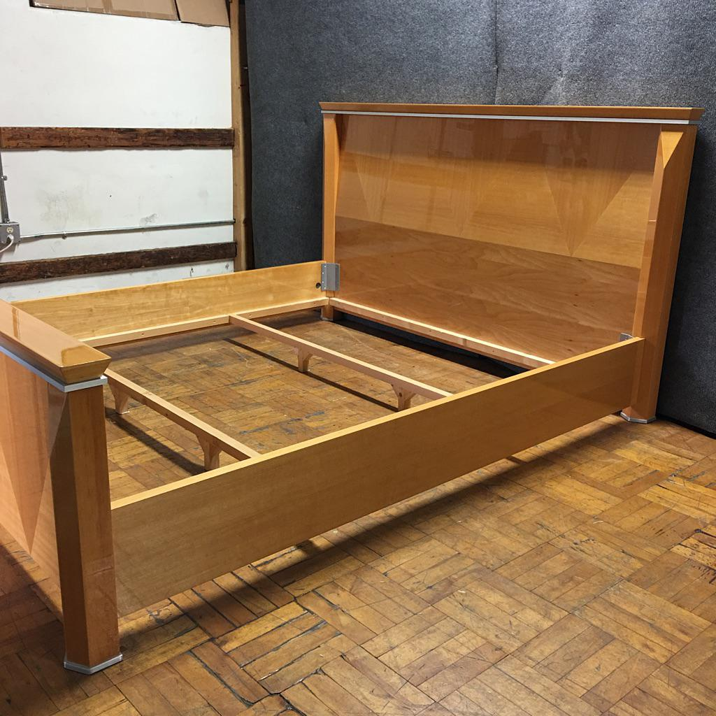 rapport giorgio collection wood & metal cal-king bed frame | chairish