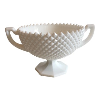 Vintage Diamond Hobnail Milkglass Bowl
