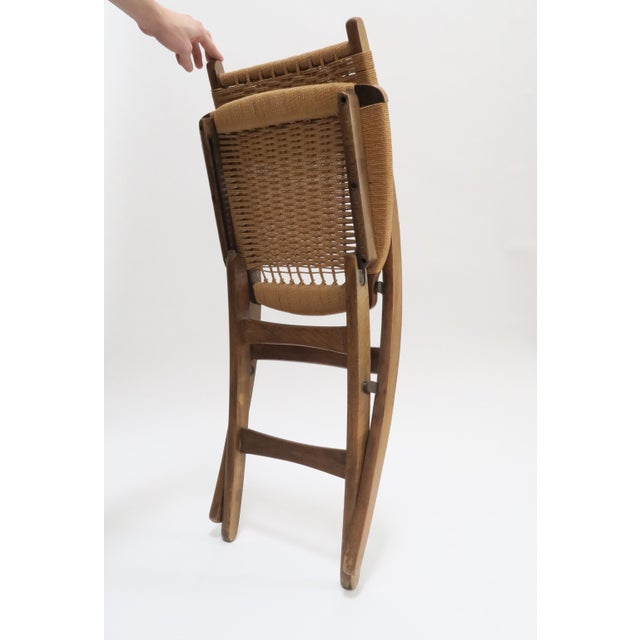 Vintage Danish Modern Rope Folding Chair - Image 5 of 7
