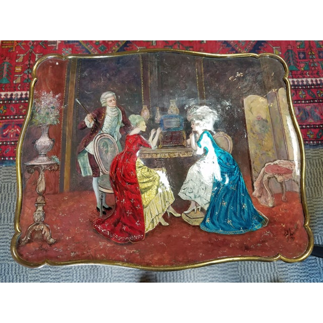 Image of Antique French Enamel Palos Table
