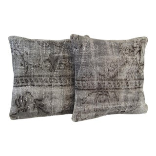 Gray Handmade Over-Dyed Pillow Covers - Pair
