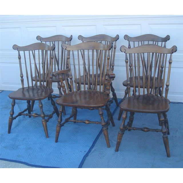 Early American Temple Stuart Windsor Chairs Set Of 6