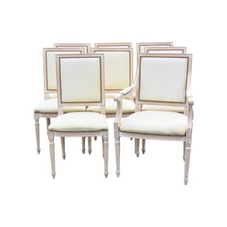 Jansen Directoire Style Distressed Painted Dining Chairs - Set of 8