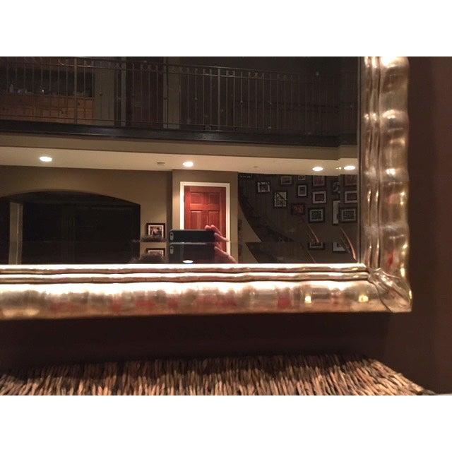 Huge White Gold Wood Mirror, Bevel Antique Finish - Image 6 of 8
