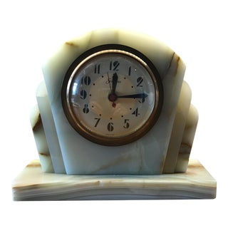 Art Deco Alabaster Clock