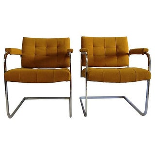 Vintage 1970s Flat Chrome Lounge Chairs - A Pair