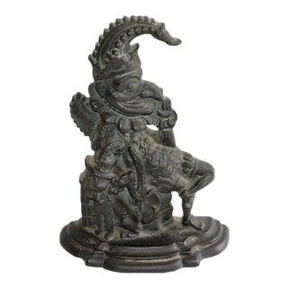 """Late 19th Century Bronze """"Punch"""" Door Stop"""